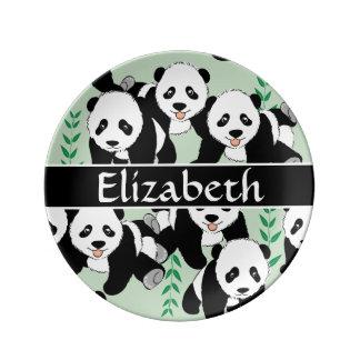Ursos de panda gráficos para personalizar pratos de porcelana