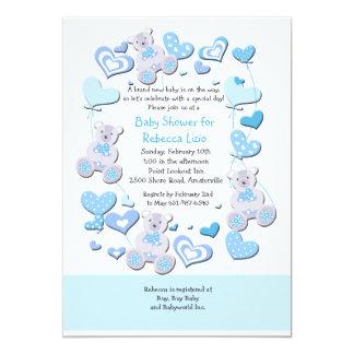 Ursos de ursinho & convite do azul dos balões do