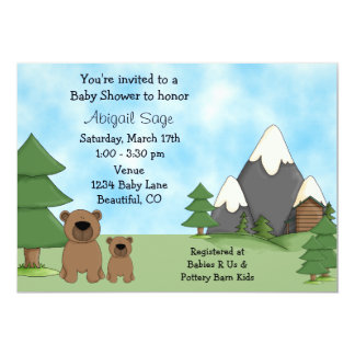 Ursos, montanhas e convites do chá de fraldas da