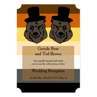 Ursos no convite alegre da recepção da bandeira do convite 12.7 x 17.78cm
