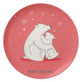 Ursos polares do Natal vermelho bonito Prato De Festa
