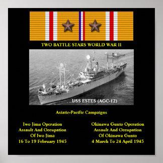 USS ESTES AGC-12 LCC-12 POSTERES
