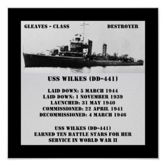 USS Wilkes DD-441 Poster