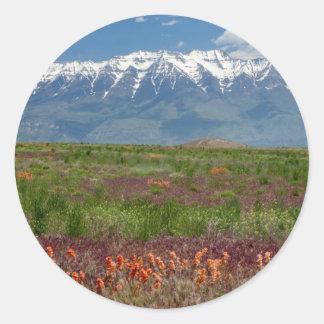 Utá, EUA. O Mt. Timpanogos aumenta acima Adesivos Redondos