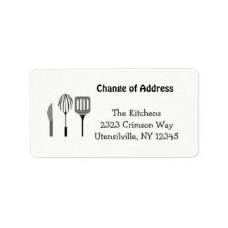 Utensílios para o endereço novo da cozinha etiqueta de endereço