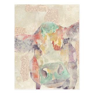 Vaca da colagem da fazenda da aguarela cartão postal