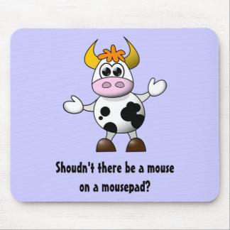 Vaca engraçada dos desenhos animados mouse pad