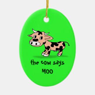 Vaca modelada do MOO dos desenhos animados no Ornamento De Cerâmica Oval