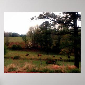Vacas da fazenda da paisagem de CricketDiane no ca Posteres