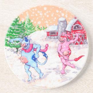 Vacas que jogam na neve porta copos de arenito