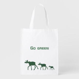 Vai o verde com alces sacolas ecológicas