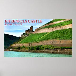 vale de rhine do castelo dos ehrenfels pôsteres