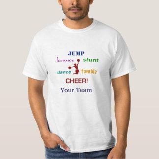Valor T do cheerleader do salto do conluio do T-shirt