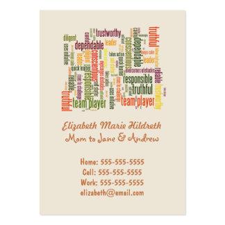 Valores inspiradores do positivo das palavras #4 cartões de visitas