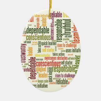 Valores inspiradores do positivo das palavras #4 ornamento de cerâmica oval