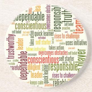 Valores inspiradores do positivo das palavras #4 porta copos de arenito