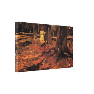 Van Gogh; Menina no branco nas madeiras, arte do