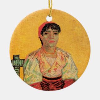 Van Gogh, mulher italiana, arte do retrato do Ornamento De Cerâmica Redondo