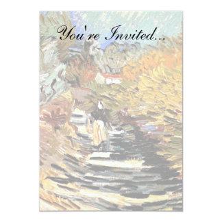Van Gogh - uma estrada no Santo-Remy com figura Convite 12.7 X 17.78cm
