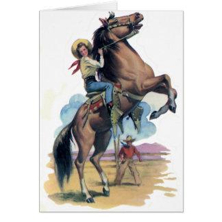 Vaqueira no cavalo cartão comemorativo