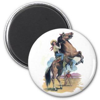 Vaqueira no cavalo ímã redondo 5.08cm