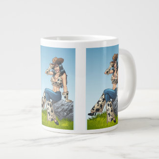 Vaqueira que derruba sua ilustração do chapéu de caneca de café grande
