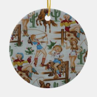 Vaqueiras retros da coleção do Natal Ornamento De Cerâmica Redondo