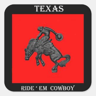 Vaqueiro Bucking .jpg do cavalo de Texas Adesivo Quadrado