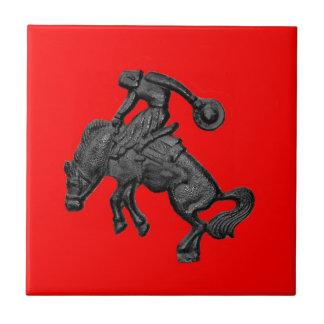 Vaqueiro Bucking .jpg do cavalo de Texas Azulejo Quadrado Pequeno