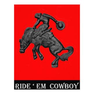 Vaqueiro Bucking .jpg do cavalo de Texas Papel Timbrado
