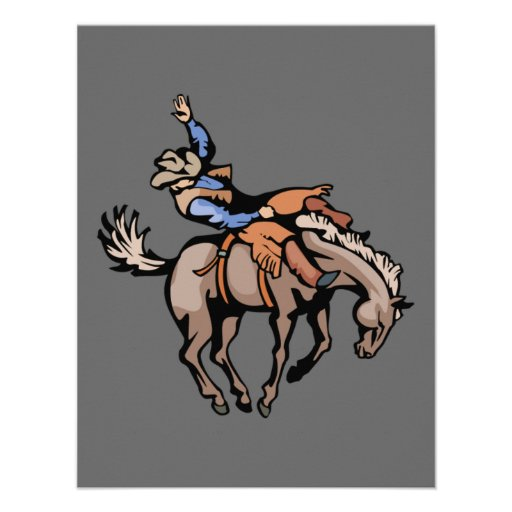vaqueiro do rodeio e convite bucking do cavalo