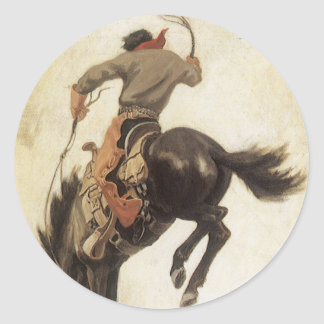 Vaqueiro do vintage em um cavalo Bucking do Adesivo Redondo