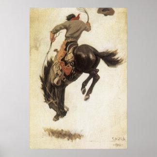 Vaqueiro do vintage em um cavalo Bucking do bronco Posteres