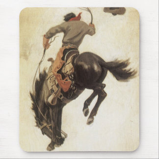 Vaqueiro do vintage em um cavalo Bucking do bronco Mousepad