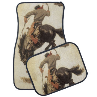 Vaqueiro do vintage em um cavalo Bucking do bronco Tapete De Carro