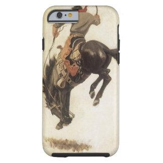 Vaqueiro do vintage em um cavalo Bucking do Capa Tough Para iPhone 6