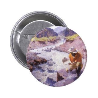 Vaqueiro do vintage, filtrando o ouro, Wyoming por Bóton Redondo 5.08cm