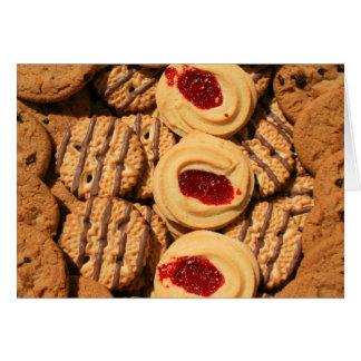Variedade dos biscoitos cartão, cartão de nota