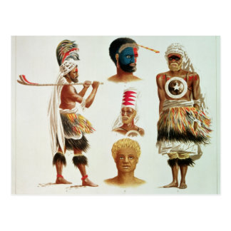 Vários trajes da dança vestidos em Nakello, Fiji Cartão Postal
