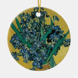 Vaso com as íris por Vincent van Gogh, arte do Ornamento De Cerâmica Redondo