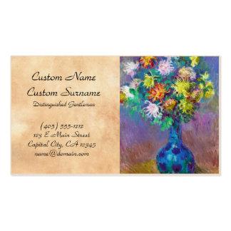 Vaso da pintura de Claude Monet dos crisântemos Cartão De Visita