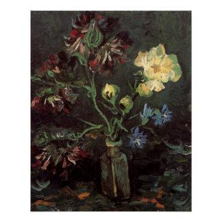 Vaso de flores de Van Gogh com Myosotis e peônias Poster Perfeito