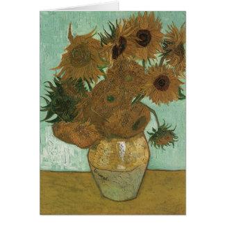 Vaso de Van Gogh com 12 girassóis Cartão Comemorativo