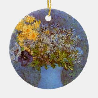 Vaso de Van Gogh com Lilacs, margaridas e anêmonas Ornamento De Cerâmica Redondo