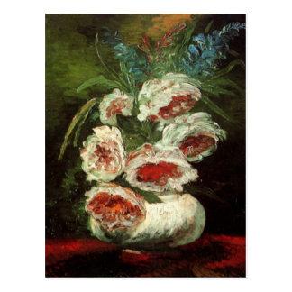 Vaso de Van Gogh com peônias, flores florais do Cartão Postal