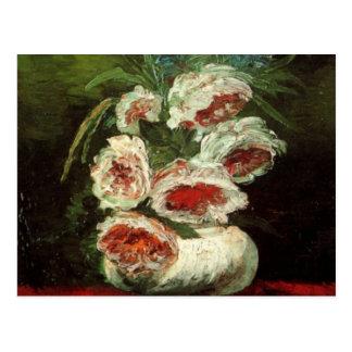 Vaso de Van Gogh com peônias, flores florais do vi Cartao Postal