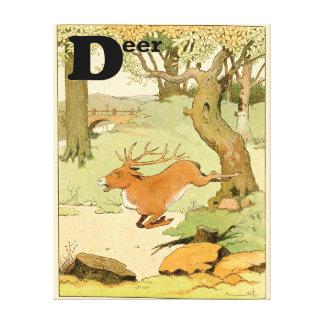 Veado dos cervos de Whitetail na floresta Impressão Em Tela