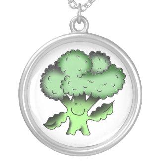 vegan tradicional orgânico dos brócolos colar banhado a prata