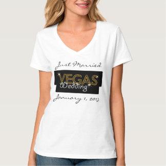 Vegas ilumina o t-shirt do recem casados