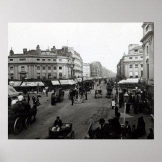Veja abaixo da rua de Oxford, Londres, c.1890 Poster